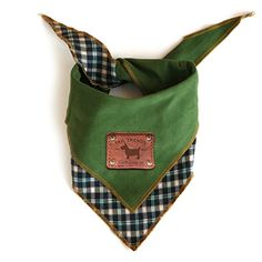 Dog Bandanas - Tail Trends Reversible Dog Bandana with Leather Patch Fits Most Medium to Large Breeds Green Large *** You can get additional details at the image link. (This is an Amazon affiliate link)