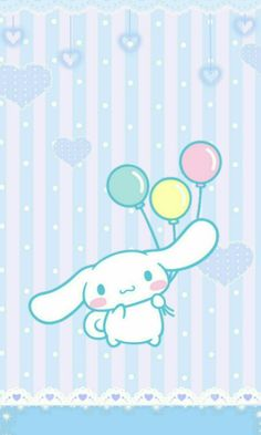 """Cinnamoroll w/ balloons in hand"" #SmartphoneInHand"