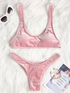 SHARE & Get it FREE | High Leg Velvet Bikini Set - Pink SFor Fashion Lovers only:80,000+ Items • New Arrivals Daily Join Zaful: Get YOUR $50 NOW!