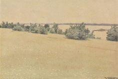 Theodor Kittelsen, «Eng og løvtrær ved havet» Fra Jomfruland-serien, 1893. Nasjonalmuseet,