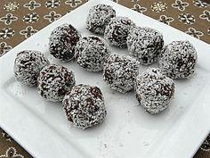 No Bake Chocolate Coconut Balls Sugar-Free, from Sugarfree Mom.  Recipe is here:   http://www.sugarfreemom.com/recipes/no-bake-chocolate-coconut-balls-flour-sugar-egg-dairy-nut-gluten-free/