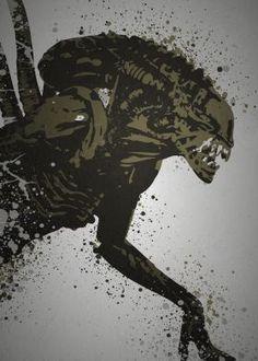 """""""Alien""""  Splatter+effect+artwork+inspired+by+The+Xenomorph+Alien+from+the+Alien+films"""
