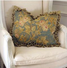 French Blue and Gold Vines Aubusson Pillow available @ CoachBarn.com #coachbarn #homedecor #homefurnishings