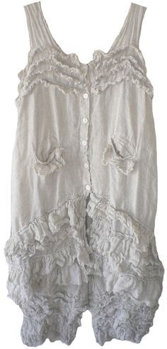 Magnolia Pearl: Oyster shell linen Anise Tank Dress