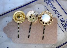 Repurposed jewelry Gold headpieces Button by CocoFlowerShop