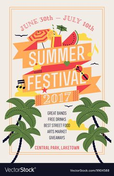 Beautiful summer festival web banner or printable poster template with circle composition of palms, beach items, music notes and more. Ideal for seasonal event announcement or invitation Musikfestival Poster, Party Poster, Types Of Photography, Candid Photography, Image Summer, Free Vector Images, Vector Free, Summer Poster, Plakat Design