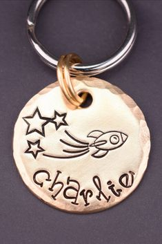Your pet will love wearing this cheerful rocket dog tag! This original pet tag is handcrafted at The Dancing Hound's studio, and is perfect for dogs, cats and horses! Each tag is handmade to order just for you. Custom Dog Tags, Personalized Dog Tags, Cat Id Tags, Pet Tags, Just In Case, Just For You, Dog Name Tags, Jewelry Polishing Cloth, Pet Collars