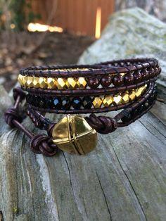 Beaded Leather Wrap Bracelet. Maroon Black by SilveryBeachDesigns