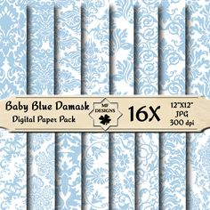 Baby Blue Damask Digital Papers 059 , scrapbooking papers, background papers, printable, invitation, cardmaking. £1.70, via Etsy.