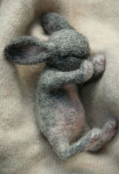 OOAK needle felted collectable Newborn BABY HARE RABBIT Bunny by Sophie Z.