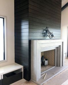 Top 60 Best Concrete Fireplace Designs - Minimalistic Interior Ideas Cast Stone Fireplace, Limestone Fireplace, Concrete Fireplace, Farmhouse Fireplace, Fireplace Hearth, Home Fireplace, Fireplace Remodel, Living Room With Fireplace, Fireplace Surrounds