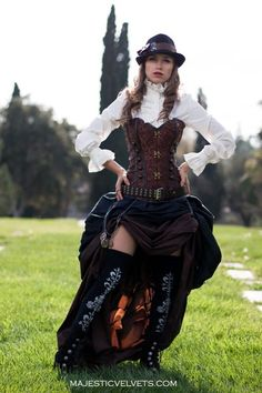 For a made-to-measure corset and skirt, this is a sweet price point !   3 pc. Steampunk Dickens Victorian Corset and Double Bustle Skirt MajesticVelvets.com
