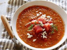 Kick off a summer meal with Tyler Florence's quick and refreshing Watermleon Gazpacho. The blended watermelon keeps the soup light, and a bit of serrano chile will add just the right amount of heat.