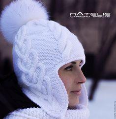 Купить Ушанка DREAME - белая шапка, белая шапочка, шапка, шапка вязаная, шапка с помпоном