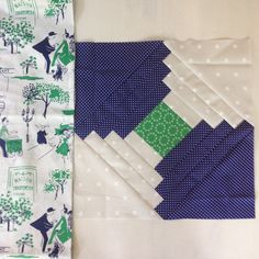 My plan for August #havendgs quilt block and backing fabric.  I'll be mailing out the green squares (Juliana Horner from Joann's) this week so you just need navy and white fabric.  #dogoodstitches tutorial for block will be on the blog soon