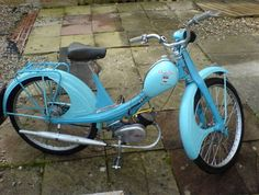 1950s NSU Quickly 49cc motorised bicycle.....I had one of these for a short while and i painted it bright orange! I got my Vespa SS180 Rally afterwards which was lovely and so cool!