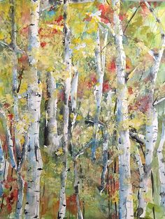 """This watercolor """"Autumn Trees #2"""" can be viewed on Fineartamerica . http://robin-millerbookhout.artistwebsites.com"""
