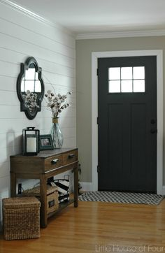 Little House of Four: Updating the entryway with Sherwin Williams Iron Ore.