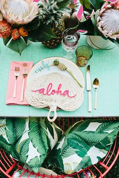 Bridal Shower DIY for a tropical feel! The aloha plates and outdoor seating are a great idea. Using the neon colors takes it from luau to fabulous bridal shower! Diy Party Dekoration, Hawaian Party, Estilo Tropical, Tropical Bridal Showers, Festa Party, Shower Inspiration, Color Inspiration, Wedding Inspiration, Wedding Ideas