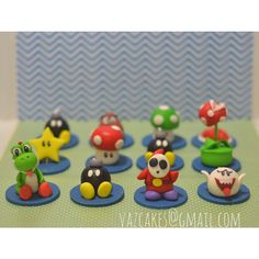Mario Bros Fondant Cupcake toppers by Vazcakes on Etsy