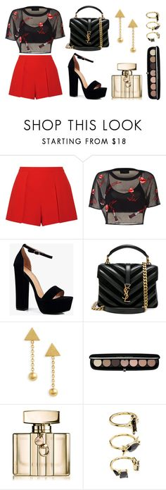 """Black And Red"" by s-adwan on Polyvore featuring mode, Alice + Olivia, Boohoo, Yves Saint Laurent, Madewell, Marc Jacobs, Gucci et Noir Jewelry"