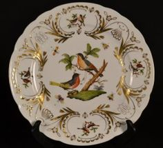"""Herend Gilded Porcelain Decorated Plate wih flowers & butterflies. Size : 10.5"""" wide"""