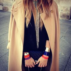 #details wearing Cooee Design    plexi bracelets, Margiela for H necklace and vintage camel coat