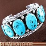 Native American Jewelry Sleeping Beauty Turquoise Sterling Silver Bracelet RS55657