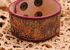 Bracelet Etched Copper Leather Cuff Bird by QueSarahSera on Etsy, $30.00