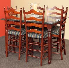This Beautiful Mission Style Merrimac Set Special Features 1 Table And 4 Bar  Chairs. Built By Skilled Amish Craftsmen And Shipped Directly From Amish ...