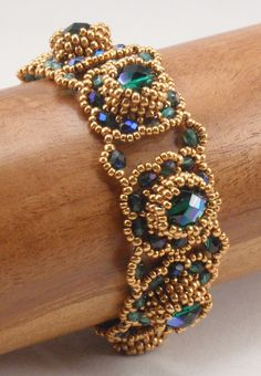 Beading Tutorial for Jeweled Mounds Bracelet, jewelry pattern, beadweaving tutorials, instant download, PDF by njdesigns1 on Etsy https://www.etsy.com/listing/257055296/beading-tutorial-for-jeweled-mounds