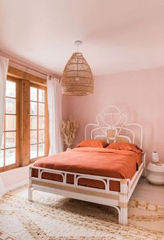 rust orange and pink bohemian desert bedroom in palm springs. Romantic Bedroom Decor, Home Decor Bedroom, Bedroom Furniture, Bedroom Ideas, Modern Furniture, Diy Bedroom, White Furniture, Bedroom Inspo, Bedroom Inspiration