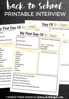 Back to School Interview - Free Printables - Somewhat Simple