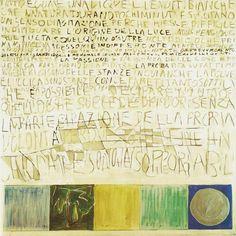 Gastone Novelli – N.1 Miles, 1961    tecnica mista su carta, 140x140 cm    Collezione privata, Milano