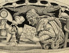 Alchemyst inside an ancient turtle, which carries a tree with emblemata depicting stages of alchemical work. Sveta Dorosheva