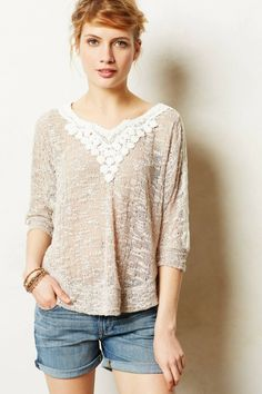 Anthropologie  Lace Applique Pullover