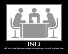 INFJ - Gift and Curse: I understand everyone's opinions from all points of view. .... At least, I try.
