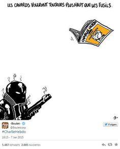 """So reagieren Zeichner aus aller Welt auf den Tod ihrer Kollegen beim Satiremagazin Charlie Hebdo"""": boulet: """"Enten fliegen immer höher als Gewehre"""". Anmerkung: """"Canards"""" (auf Deutsch: Enten) ist im Französischen auch ein umgangssprachlicher Ausdruck für Zeitungen"""". Mehr dazu hier: http://www.nachrichten.at/nachrichten/weltspiegel/Charlie-Hebdo-als-Zeitschrift-der-Ueberlebenden;art17,1598439 (Bild: Boulet)"""