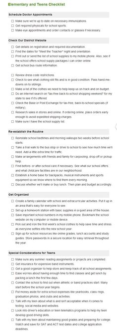 Getting ready for back to school? Here's a checklist to help you and your household organized before the first day back! Checklist for preschool, elementary, middle and high school age students. Back To School, High School, Household Organization, Preschool, Students, Middle, Age, Board, Grammar School