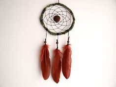 Dream Catcher - Wonderful Nature - With Small Mandala Amulet, Brown Feathers and Green Frame - Nursery Mobile, Boho Home Decor, Decoration