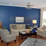 Delightful Blue Living Room Inspie with Wooden Flooring and Cream Fabric Sectional Sofa and Cream Sofa Chair Idea and Black Wooden Coffee Table and Ceiling Fans Design and Zebra Motife Carpet Area a part of  under Living Room