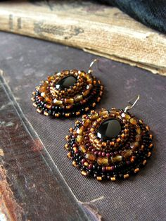 Earrings with Black Onyx cabochons Black Brown by MisPearlBerry, $40.00
