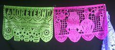 Dia de los Muerto skeleton novio papel picado banner. For decor