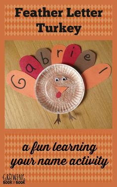 Learning your name with a Thanksgiving themed activity from growingbookbybook.com Thanksgiving Preschool, Bulletin Boards, Washer Necklace, Pin Boards, Presentation Boards