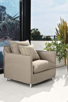 The Brisbane outdoor chair combines indoor comfort with outdoor performance.