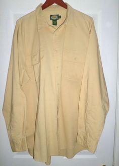 Men's Yellow CABELA'S Breast Pockets Button Up Long Sleeve Shirt, Size 2XL TALL…