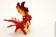 Купить Огненный Дракон мягкая игрушка soft toy dragon скульптура из ткани - ярко-красный