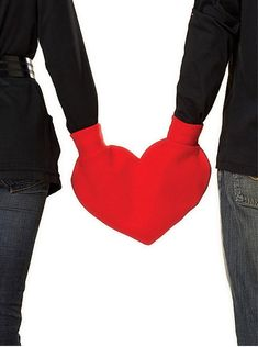 Red Heart Shaped Lovers Mitten Snuggle down for warm door isewnaked, $18.00