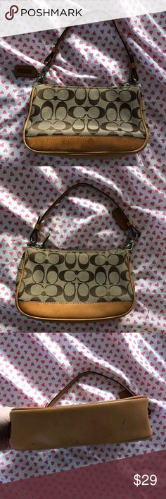 Small Coach monogram logo handbag In fair condition, has wear such as pen marks and water stains.  Priced accordingly due to the condition, please inspect photos prior to purchasing as this is sold AS IS.'🌼Thank you for looking!  🌼I ship within 2 days shipping excluding holidays 🌼I do not trade! 🌼I only accept offers through the offer button! 🌼Thank you for shopping and feel free to ask any questions! 🚭Smoke free home! Coach Bags Mini Bags