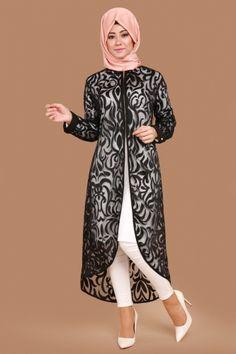 Tunique Hijab - Tuniques Discount Tesettür Tunik – İndirimli Tunikler C.N – Tunique Burning Detail Zipper Noir Hijab Fashion Summer, Modern Hijab Fashion, Islamic Fashion, Net Fashion, Abaya Fashion, Muslim Fashion, Fashion Outfits, Churidhar Designs, Abaya Designs